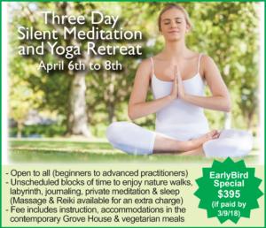 THREE DAY SILENT MEDITATION AND YOGA RETREAT APRIL 6-8, 2018 @ Sacred Grove Retreat Center | Gold Hill | North Carolina | United States